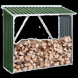 Накрытие для дров зеленый с белым металлический